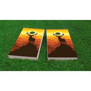 Custom Cornhole Boards Deer Buck Mountain Sunset Cornhole Game Set