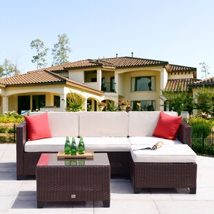 Lila 5 Piece Rattan Sectional Set with Cushions by Ebern Designs