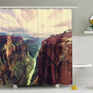 House View of the Canyon with Mystical Narrow Long River Line Primitive Forces of Nature Shower Curtain Set