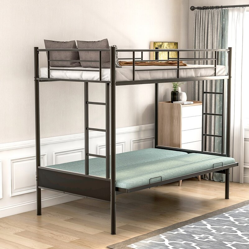 Isabelle Max Mtmere Metal Twin Over Full Futon Bunk Bed Wayfair
