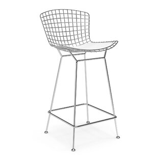 Simona Polished Stainless Steel 29.75'' Bar Stool by Everly Quinn