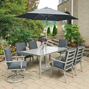 Dinan 7 Piece Dining Set with Cushion and With Umbrella