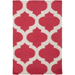 Great Price Hackbarth Hand-Woven Red/White Area Rug By Zoomie Kids