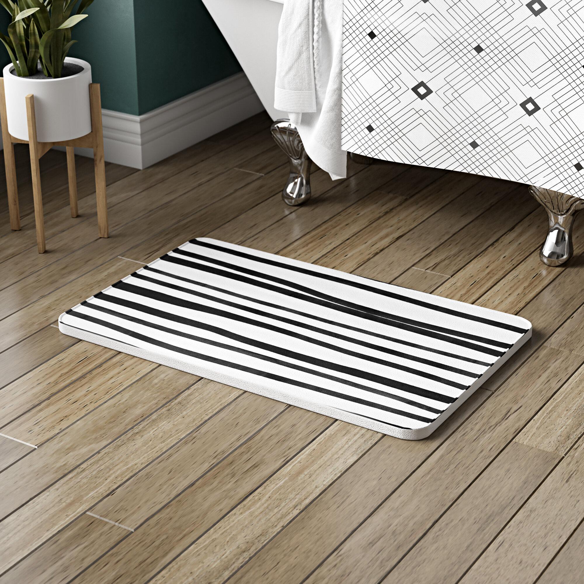 Picture of: Ivy Bronx Bretz Stripes Rectangle Non Slip Striped Bath Rug