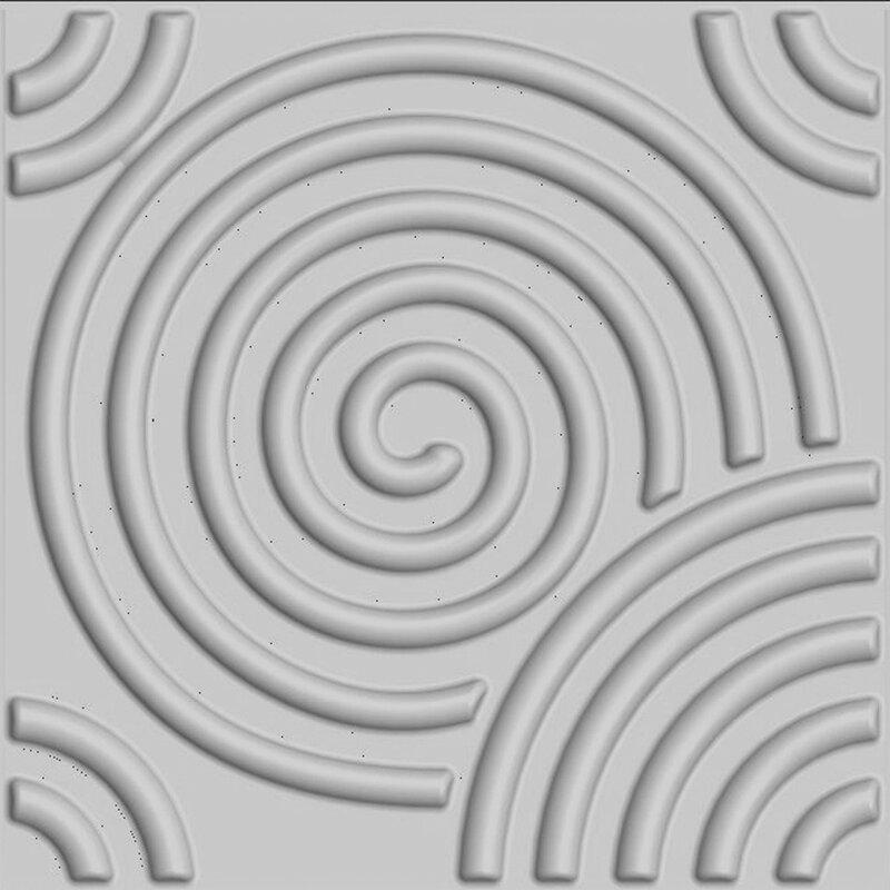 "threeDwall Circles Brick Paintable 19.6' x 19.6"" Geometric 3D Embossed Panel Wallpaper"