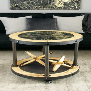 Metal and Wood Clock End Table