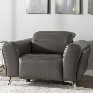 Paille Leather Power Wall Hugger Recliner by Orren Ellis Fresh