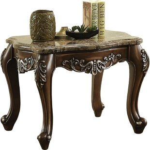 Astoria Grand Britney Marble Top Wooden End Table