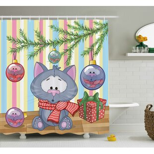 Christmas Kitten Gift and Tree Single Shower Curtain
