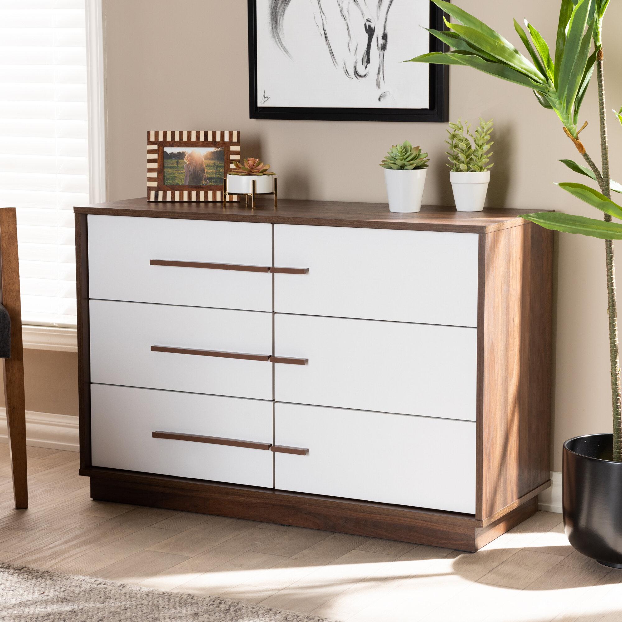 Johnathon Mid-Century Modern Two-Tone Wood 6 Drawer Dresser