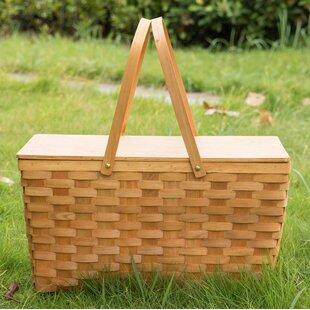 Wooden Lid Picnic Basket