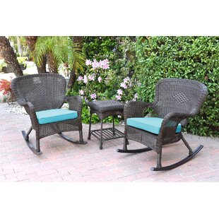 Mistana Jaylyn 3 Piece Rattan Conversation Set with Cushions