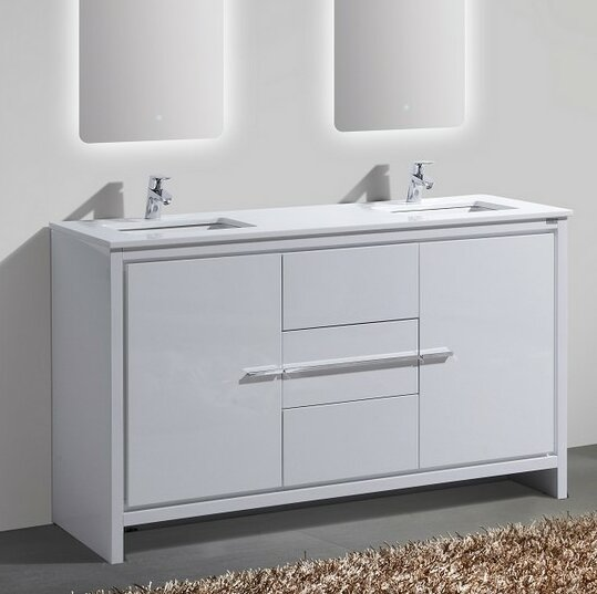 vanity bathroom double sink. Bosley 60  Double Sink Modern Bathroom Vanity Vanities You ll Love Wayfair