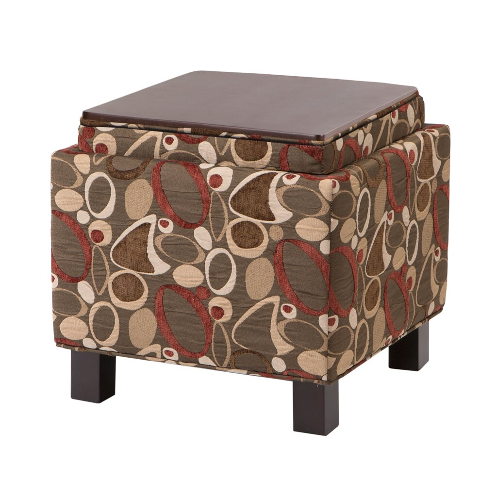 Shelley Square Storage Ottoman in Geometric Brown - Madison Park Shelley Square Storage Ottoman In Geometric Brown