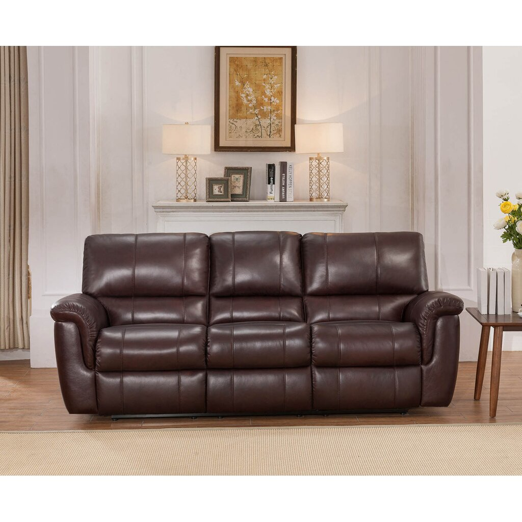 Darby Home Co Ayler 3 Piece Brown Leather Reclining Living Room Set