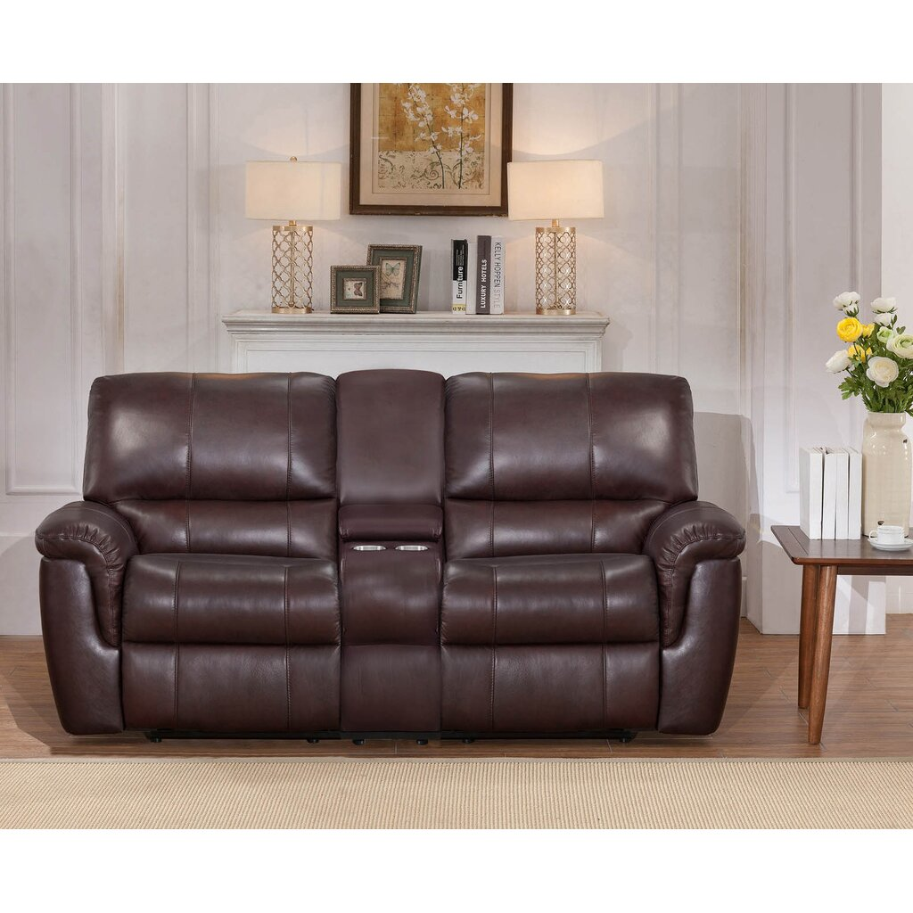 Darby Home Co Ayler 3 Piece Brown Leather Reclining Living