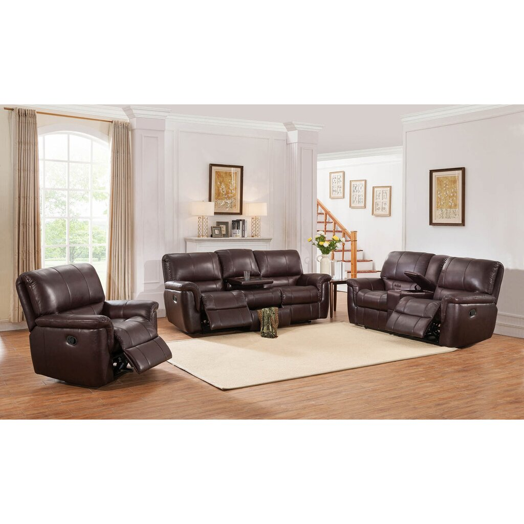 darby home co ayler 3 piece brown leather reclining living room set. Black Bedroom Furniture Sets. Home Design Ideas