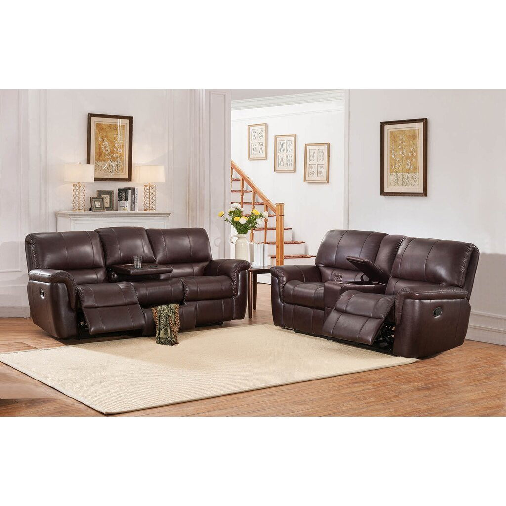 darby home co ayler 2 piece brown leather reclining living room set. Black Bedroom Furniture Sets. Home Design Ideas