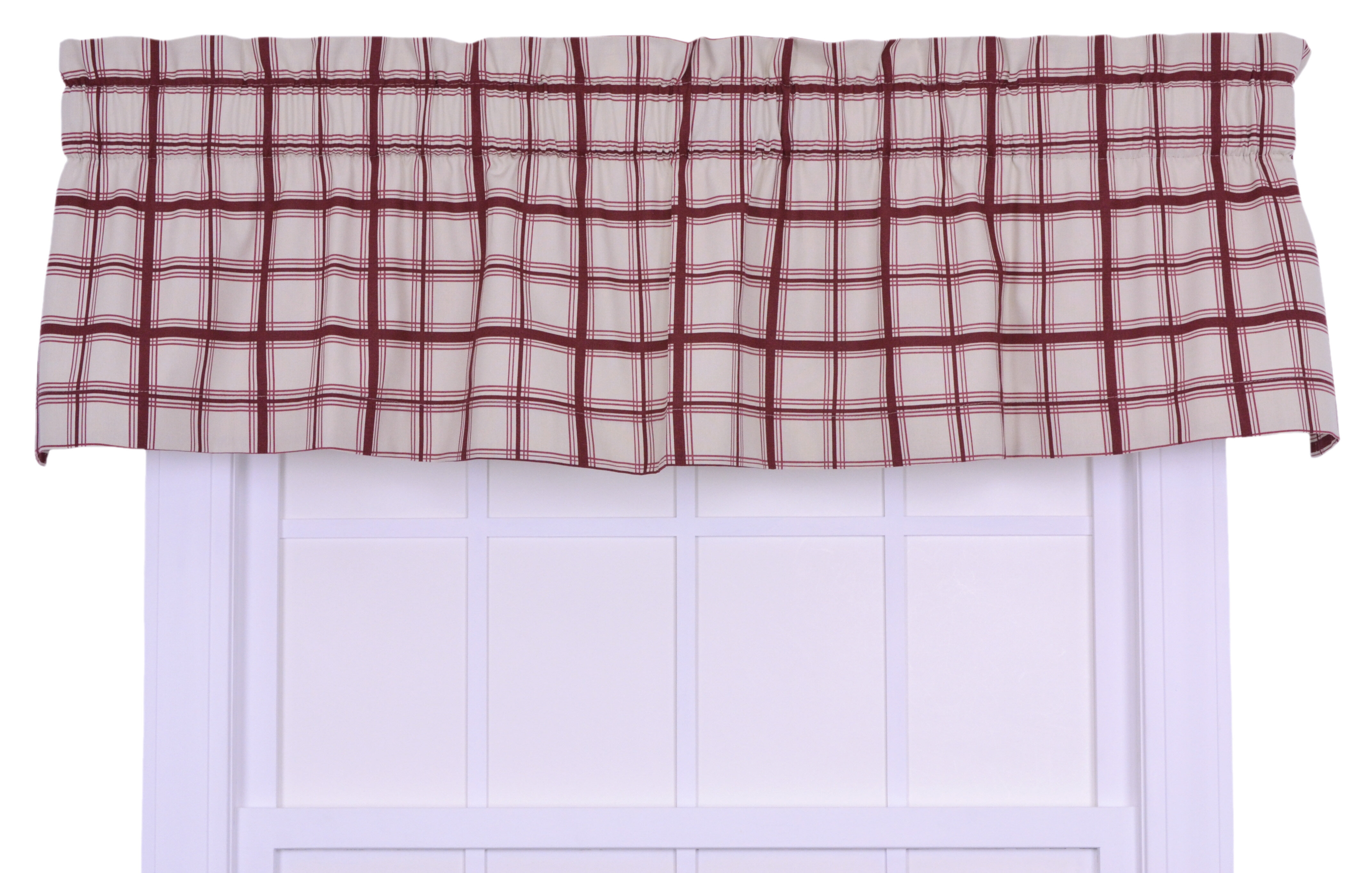 Logan Cotton Rod Pocket Large Scale Plaid Tailored Valance Window Curtain