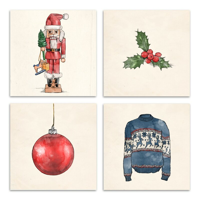 Oliver Gal Holiday 4 Piece Graphic Art On Wrapped Canvas Set Wayfair