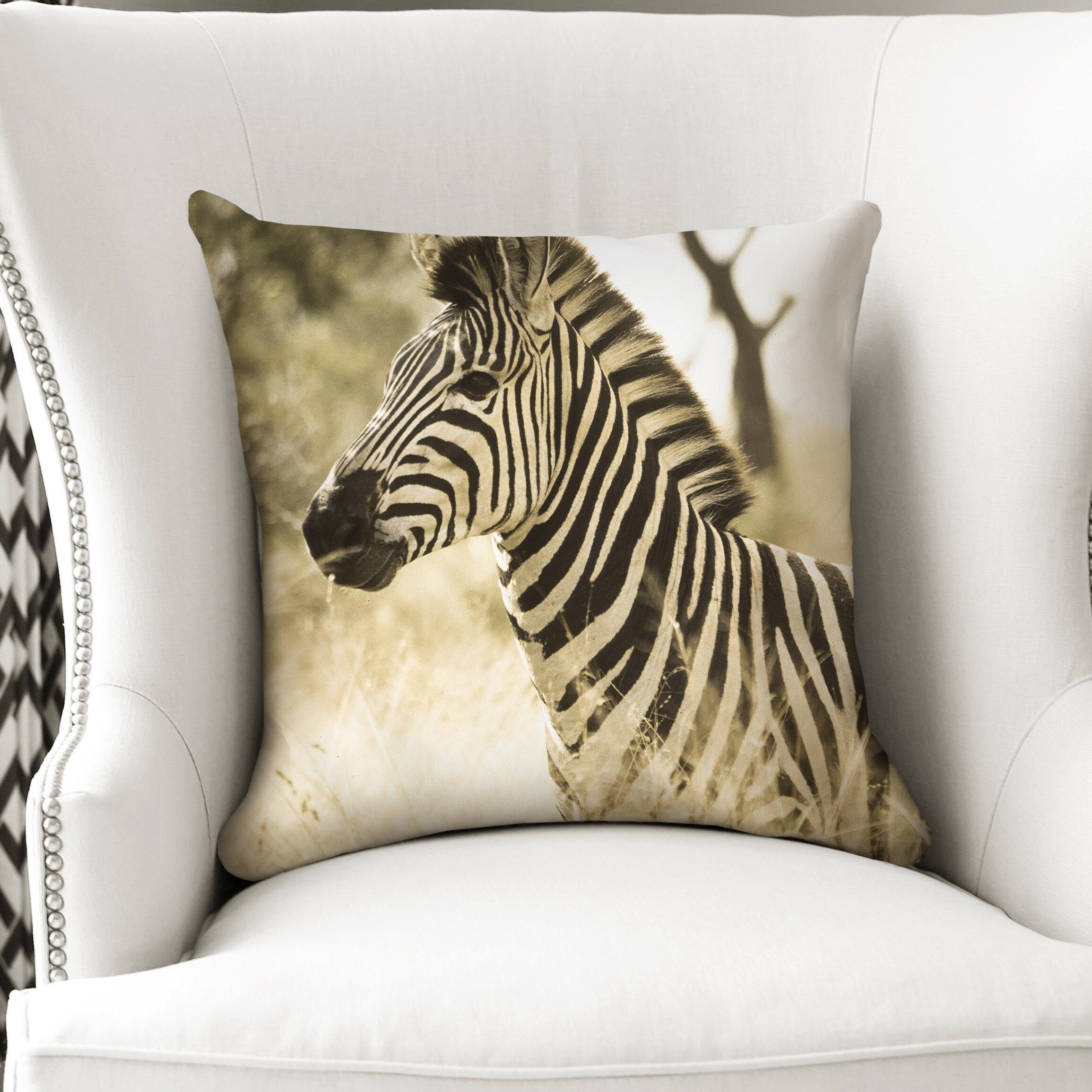 World Menagerie Dali Zebra Cotton Throw Pillow Wayfair