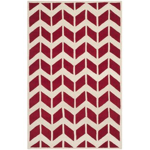 Hand-Tufted Wool Red/Ivory Area Rug by Safavieh