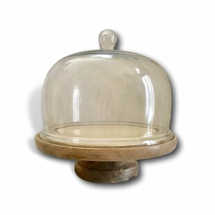 Favorite Wooden Cake Stand With Dome | Wayfair PE25