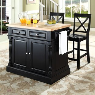 Lewistown 3 Piece Kitchen Island Set with Butcher Block Top by Darby Home Co