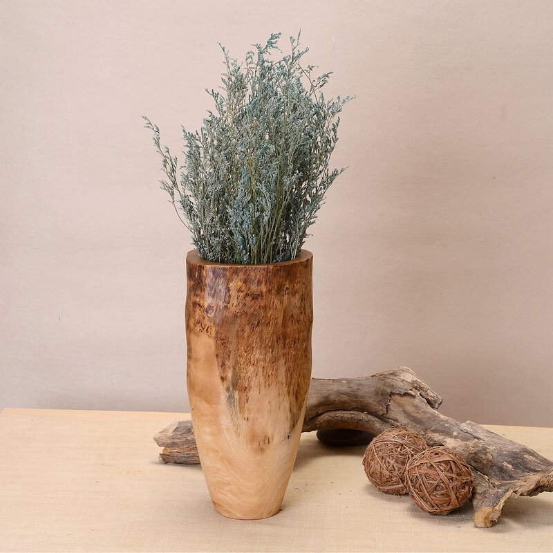 Deserie Hand Carved Natural Mango Wood Table Vase