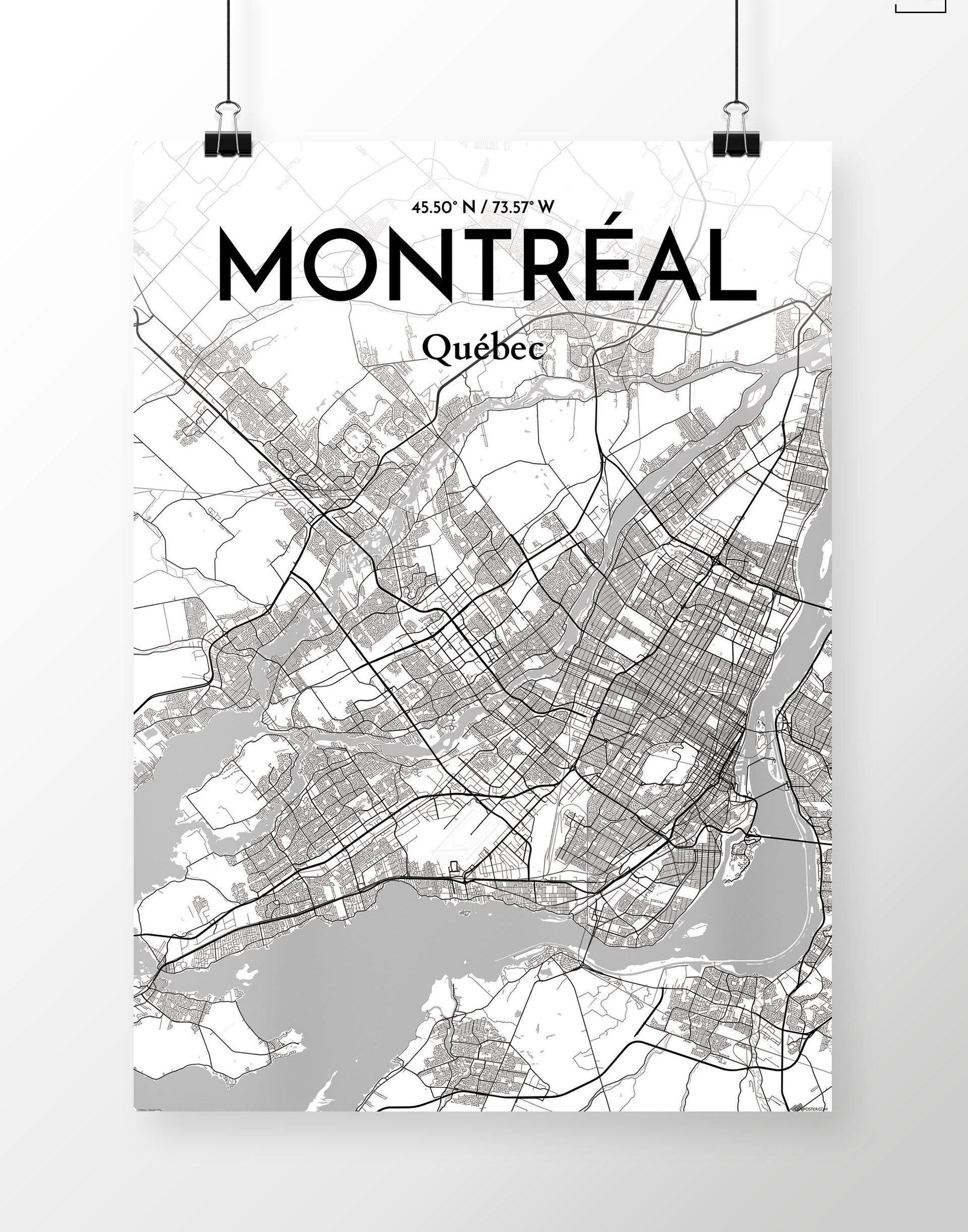Ourposter Com Art Graphique Montreal Carte De La Ville Imprimer Wayfair Ca