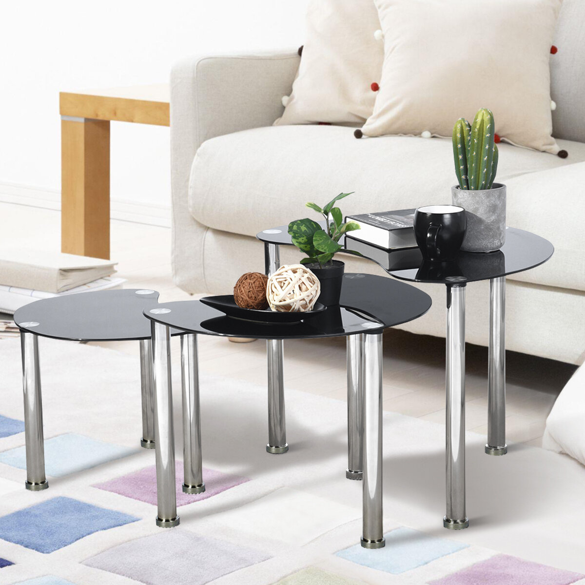 Orren Ellis Wyano 3 Legs 3 Bunching Tables Wayfair