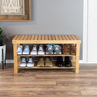 Compare prices 2-Tier Bamboo 8 Pair Shoe Rack By Rebrilliant