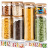 Food Container Jar With Bamboo Lids Set Of 7