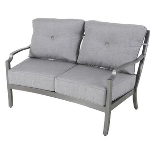 Red Barrel Studio Konevsky Aluminum Outdoor Curved Loveseat with Cushions