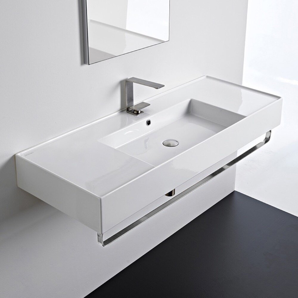 Ceramic 48 Wall Mounted Bathroom Sink With Overflow