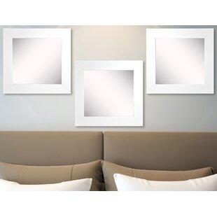 Best Waite White Satin Wide Wall Mirror (Set of 3) ByEbern Designs