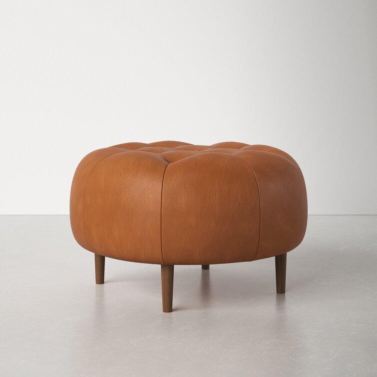 Landan 31.5'' Wide Genuine Leather Tufted Round Cocktail Ottoman