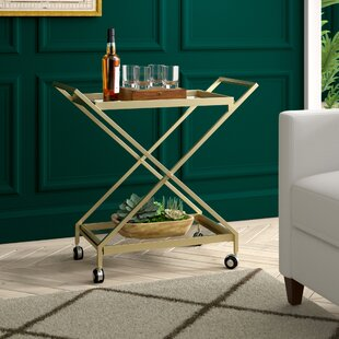 Gunnell Indoor Industrial Iron/Glass Bar Cart by Greyleigh