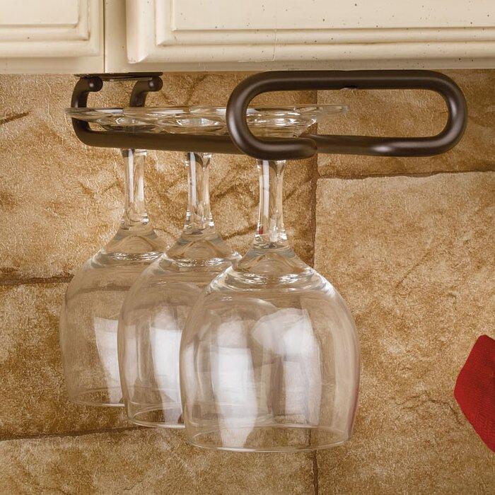 "Rev-A-Shelf SHIPS FREE! 11/"" Wire Wine Glass Rack Hanger Holder Satin Nickel"