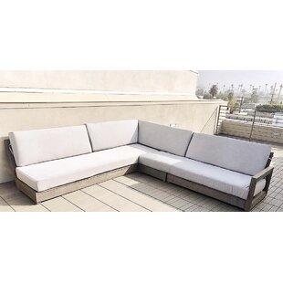Orren Ellis Renner Weathered 4 Piece Teak Sunbrella Sectional Set with Cushions