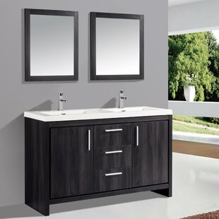 Peiffer 59 Double Sink Bathroom Vanity Set with Mirror by Orren Ellis