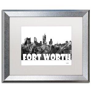 Trademark Art Fort Worth Texas Skyline Bg 2 Framed