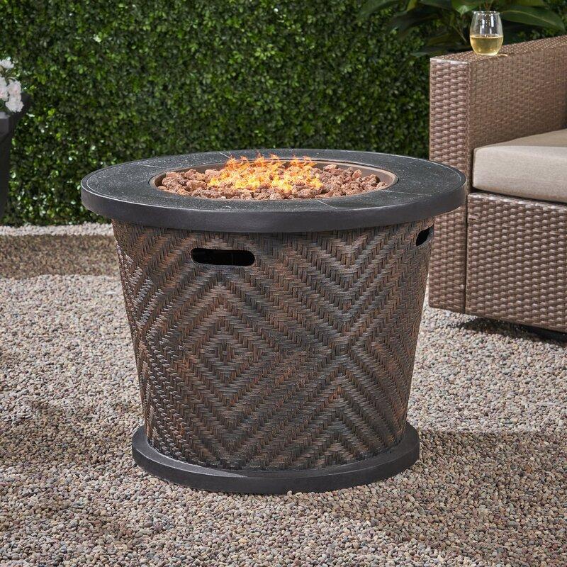 Lujan Concrete Propane Fire Pit Table