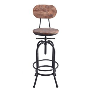 Gracie Oaks Poitras Adjustable Height Swivel Bar Stool