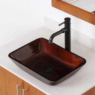 Elite Hand Painted Glass Rectangular Vessel Bathroom Sink