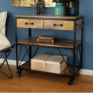 Ellerbe Rustic Iron and Wood Serving Bar Cart By 17 Stories