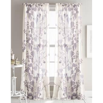 Landscape II Floral/Flower Semi Sheer Curtain Panels