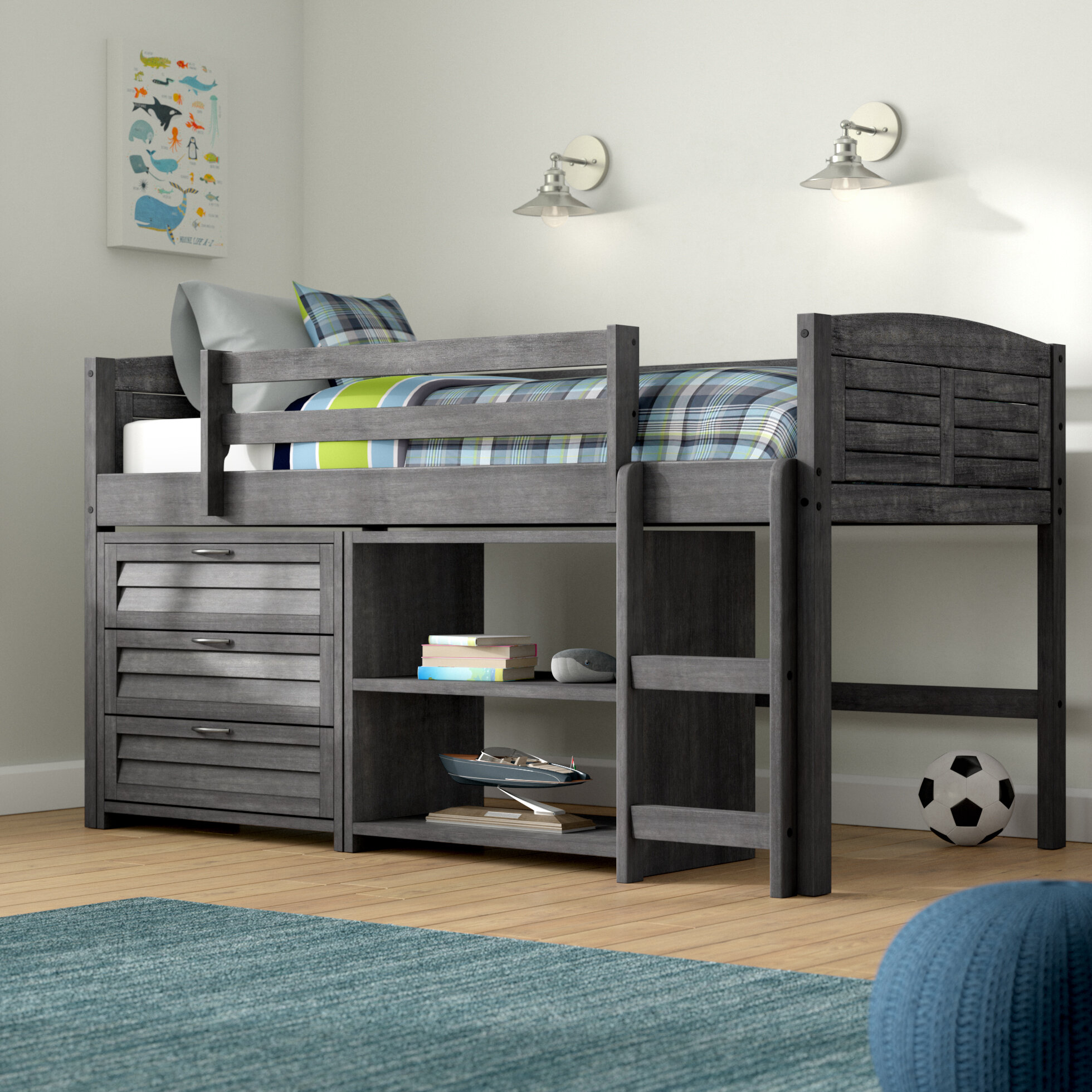 Birch Lane Evan Twin Low Loft Bed With Storage Reviews Wayfair