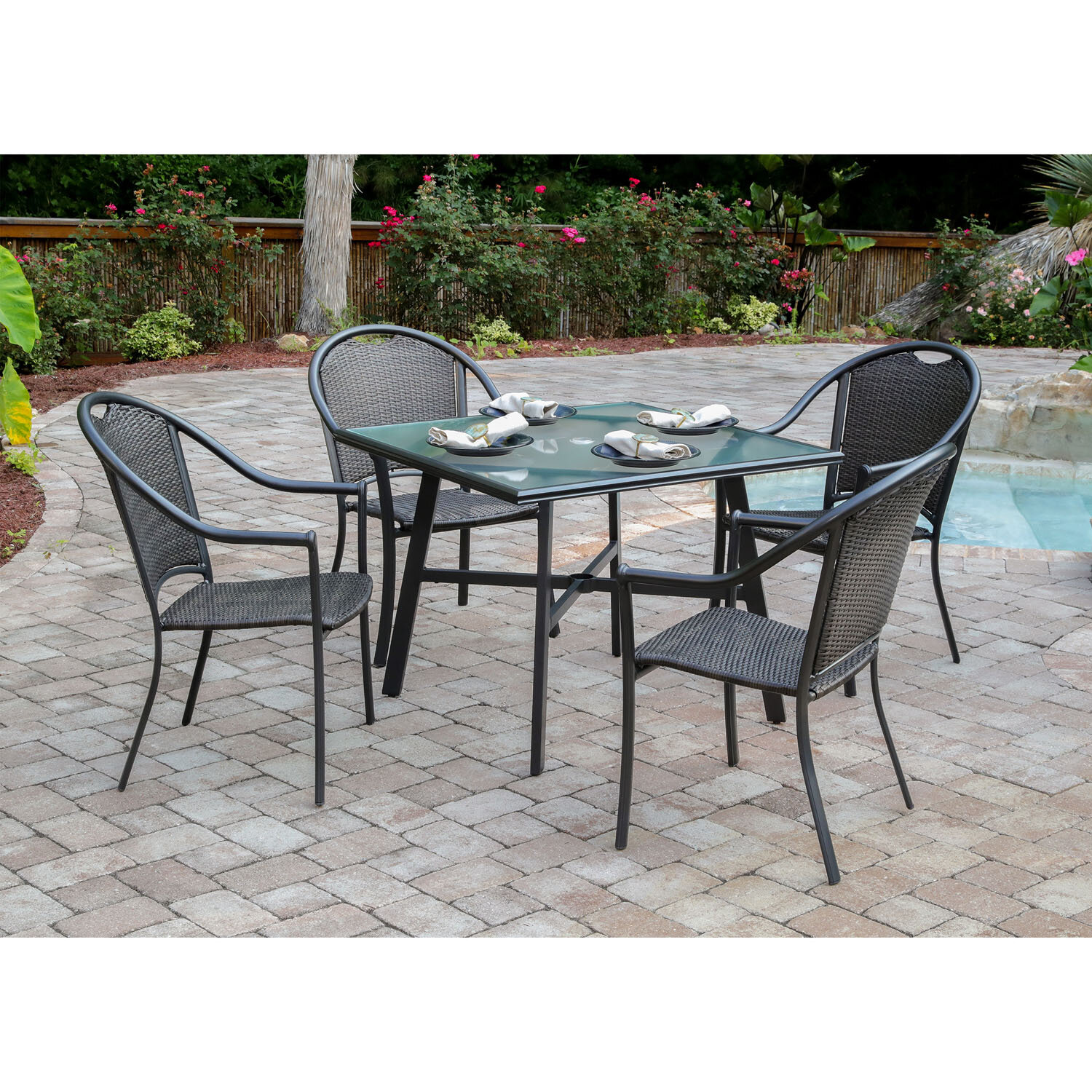 Charlton Home Bearden 5-Piece Commercial-Grade Patio Set with 4