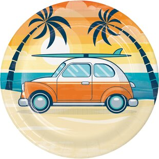 Summer Surfing Paper Disposable Dessert Plate (Set of 24)